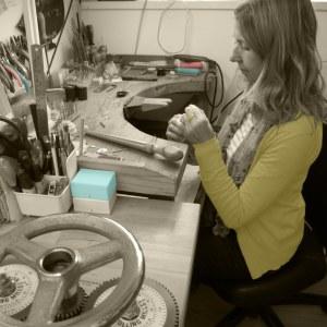 Jacks Turner in her jewellery workshop