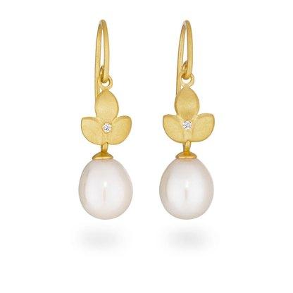 Diamond pearl drop earrings handmade in gold plated silver designed by Jacks Turner