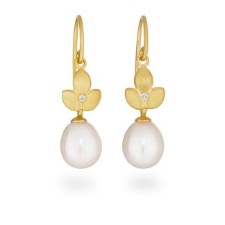 Diamond pearl drop earrings handmade in gold plated silver designed by Jacks Turner