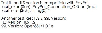 Test the TLS version is compatible with PayPal OK
