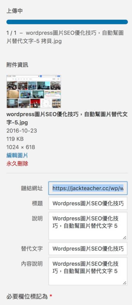 Wordpress圖片SEO優化技巧,自動幫圖片替代文字 6