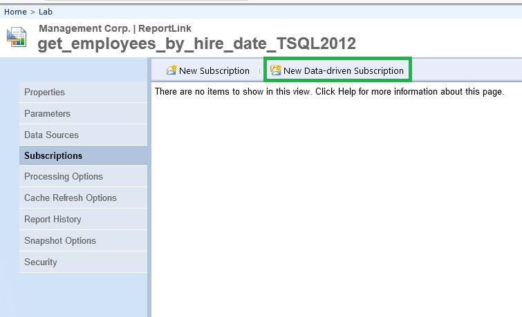 Creating A Data Driven Subscription In SQL Server Reporting
