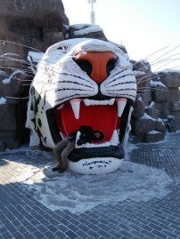 The Tiger Park had a giant tiger head people could take pictures in.