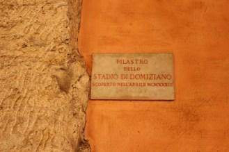 Sign for the Domitian Stadium