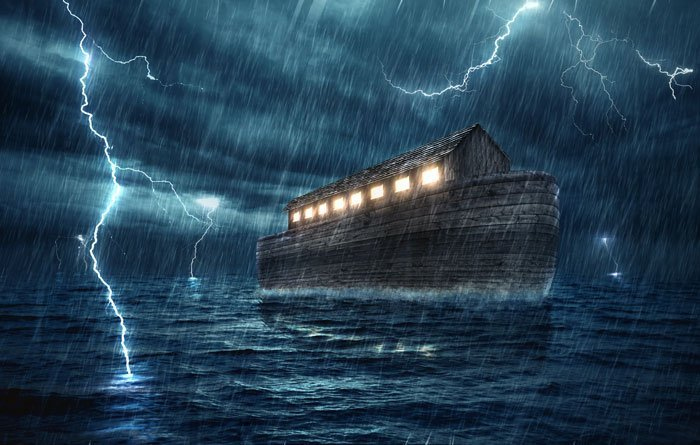 Noah's ark in the great flood