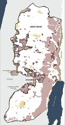 The West Bank. Israeli settlements in purple, areas where Palestinian movement is restricted in pink.