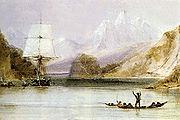 HMS Beagle surveying the coast of South America