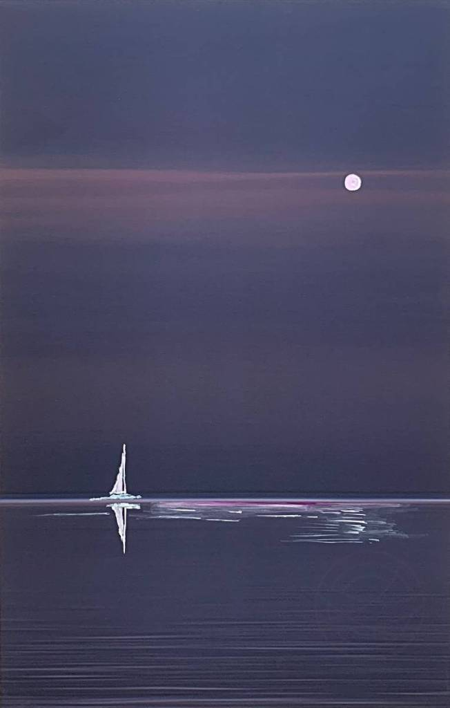Moonlit Sail - A unique fusion of fine art photography and painting ! - A tranquil night, on the distant horizon appears a moonlit sail, slowly driven by a light breeze. - Painting on a fine art photo by Karina Mosser and Jacob Berghoef