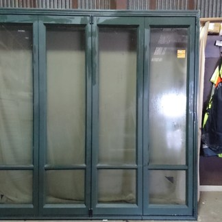 Karaka green aluminium four leaf bi-fold door