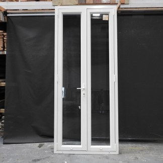 Tall / Skinny Off White (Bone) Aluminium French Doors With Key