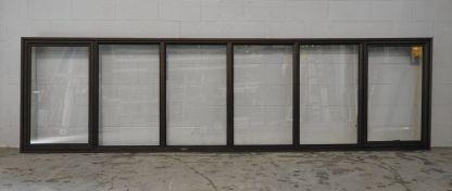 Bronze aluminium double awning lanscape window