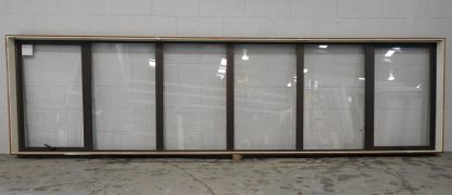 Bronze aluminium double awning lanscape window
