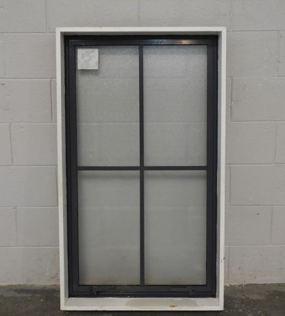 blue/grey colonial style aluminium awning window with obscure glass