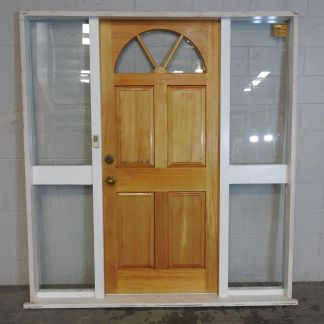 Wooden exterior door with sidelights in Jamb/Frame