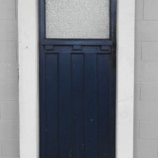 Wooden bungalow door style door hung in jamb/frame