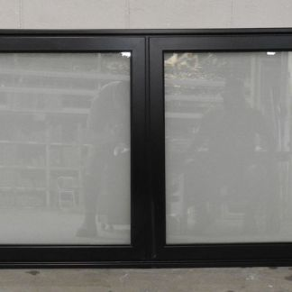Black Aluminium double glazed landscape awning window - obscure glass