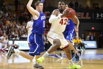 Winthrop's Josh Davenport had a solid game against Asheville. Davenport put up 15 points with 4 rebounds. Jacob Hallex/ The Johnsonian