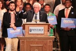 Bernie Sanders speaks at a rally held in Byrnes Auditorum on Winthrop's campus.