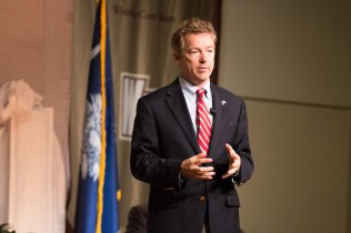 Rand Paul speaks at a town hall event hosted by U.S. Sen. Tim Scott.