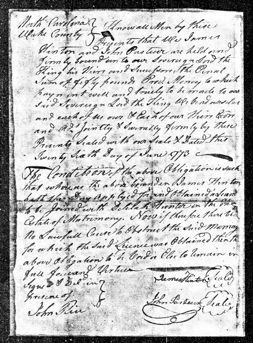 The marriage bond dated 6 June 1773 between Delilah Hunter and James Hinton