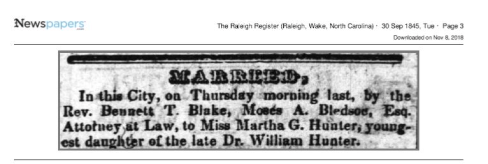 Martha G. Hunter's marriage to Moses A. Bledsoe in the Raleigh Register
