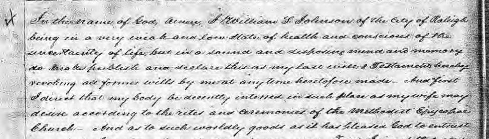 Transcript of the portion of William S. Johnson's will