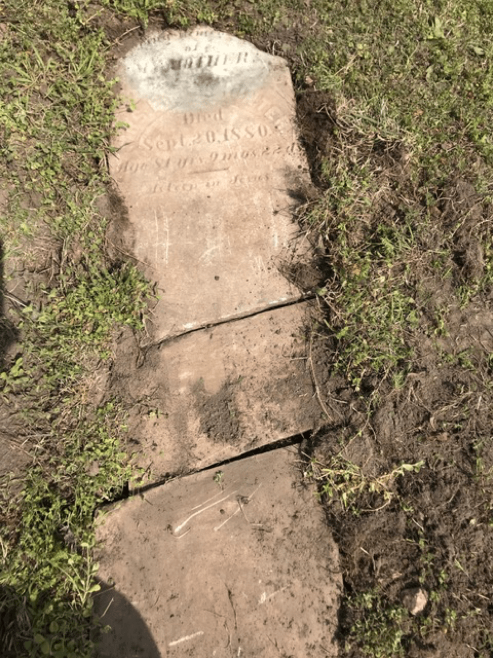 Mrs. Emily Hunter tombstone as re-laid