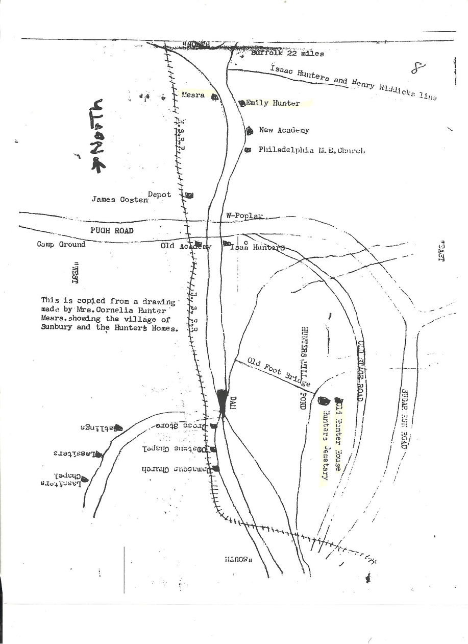Cornelia Meara Map found by Frank T. Cross at Olivia Raney Library in Raleigh of the area showing Old Hunter Place, Hunter Cemetery, home of Emily Hunter, and the Meara home
