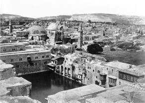 Hezekiah's Pool, ancient reservoir in the Christian Quarter of the Old City of Jerusalem. St. John the Redeemer Lutheran Church, built in 1898, wasn't yet visible in this photo. Photo taken by English photographer, Francis Frith, 1862 — with Coptic caravansary, Holy Sepulcher and Mosque of Omar.