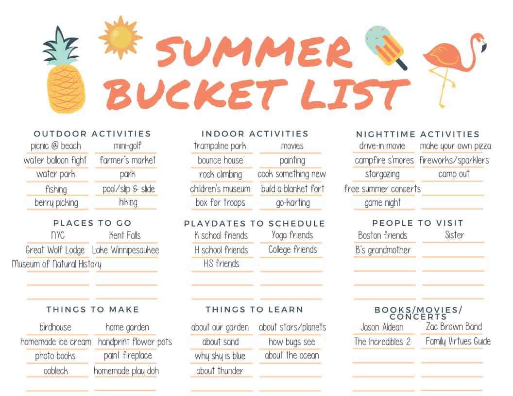 Summer Bucket List Template And Calendar
