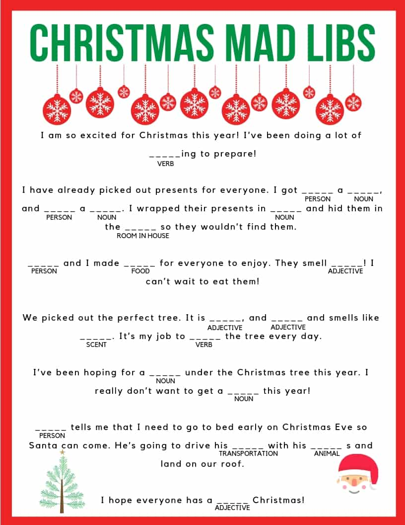 Download your free printable Christmas Mad Libs! Kids and adults of all ages can enjoy!