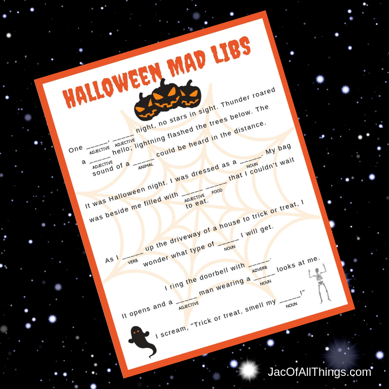 Access your Halloween Mad Libs now! Free printable!