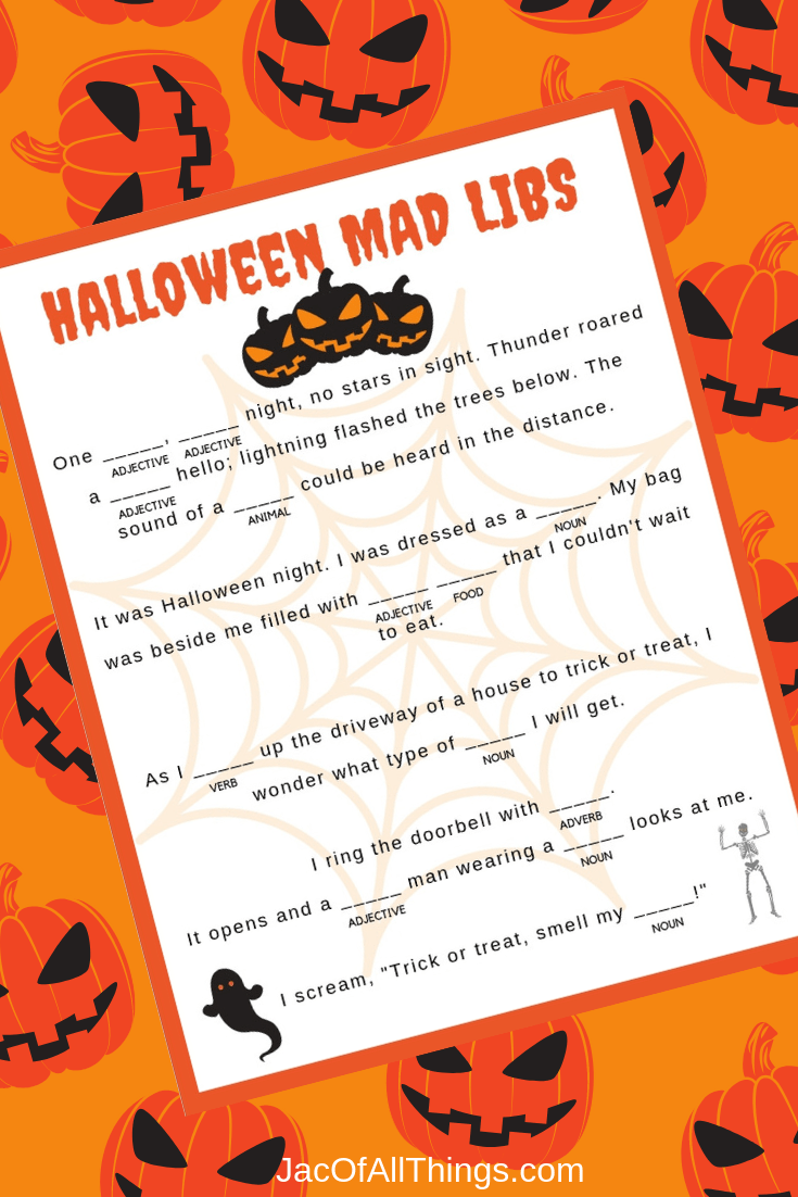 Download these Halloween Mad Libs now to print for free! Kids love doing mad libs! They are hysterical and fun!