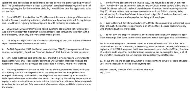 Kinnock explanation