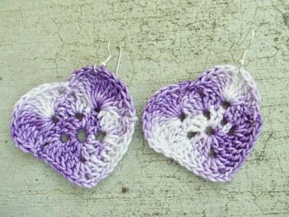 variegated purple crocheted heart earrings