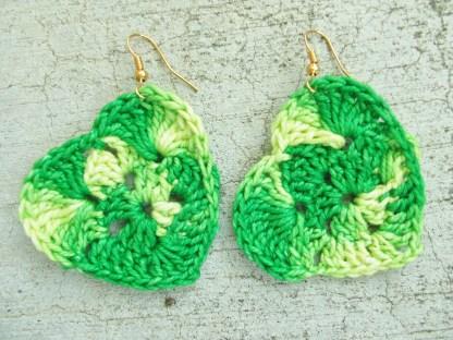 variegated green yellow crocheted heart earrings