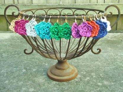 crocheted metallic star earrings