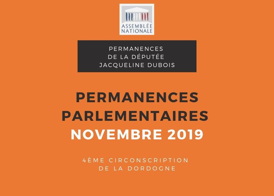 Permanences parlementaires NOVEMBRE 2019