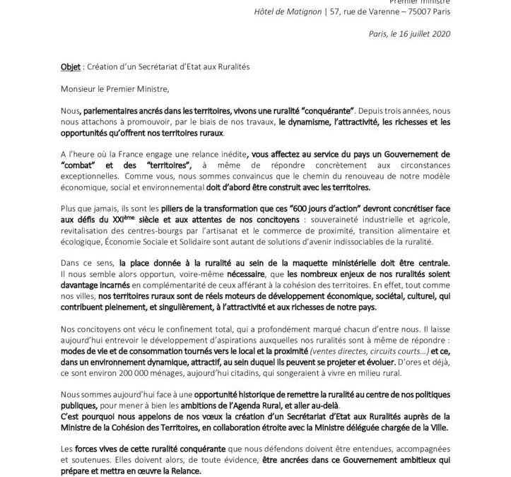 thumbnail of Courrier à M. le Premier ministre – 20200716