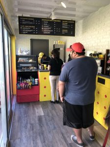 Inside the yellow shipping container of Café Bustelo in Houston