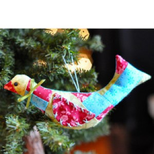 Patchwork Bird Ornament sewing quilted Jacquelynne Steves