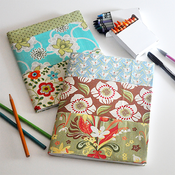 Pattern For A Fabric Book Cover ~ Fabric covered notebooks and journals tutorial