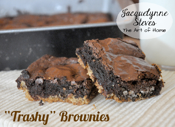 Trashy Brownies Recipe- chocolate chip cookie base, brownie mix, and Oreos- Jacquelynne Steves