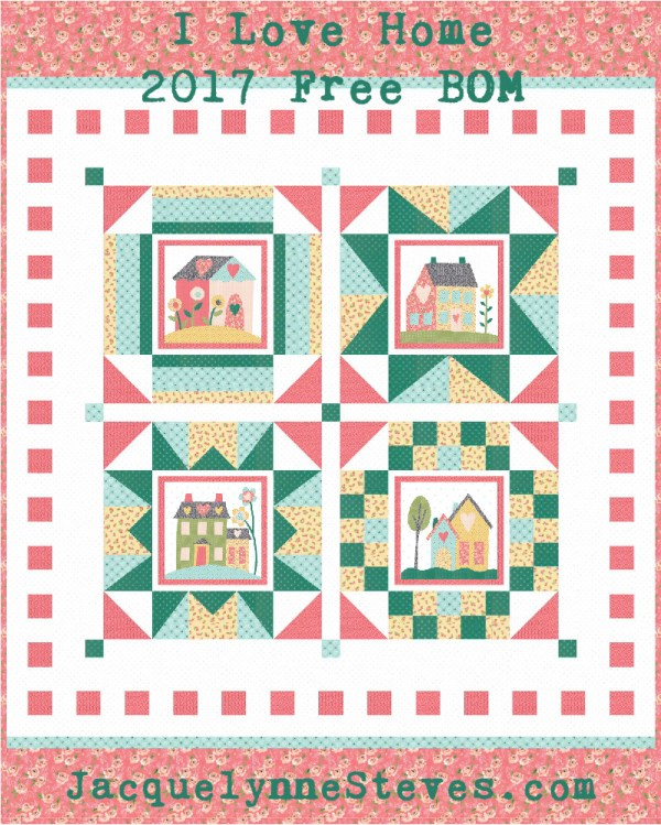 I Love Home Block of the Month - Jacquelynne Steves : free quilt block of the month - Adamdwight.com