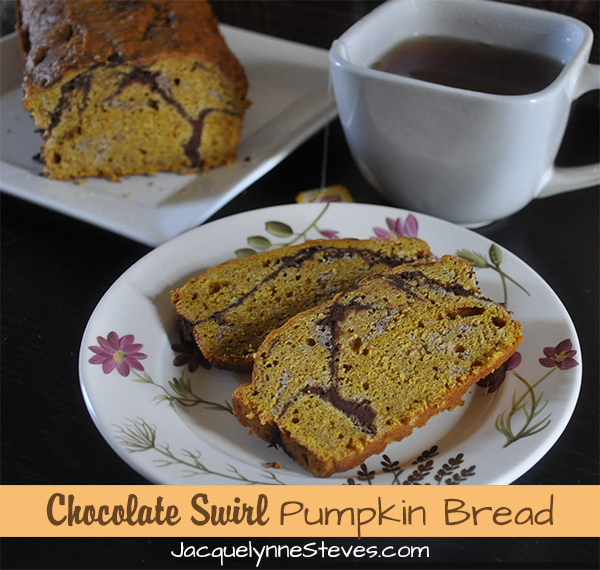 Chocolate Swirl Pumpkin Bread Recipe | JacquelynneSteves.com