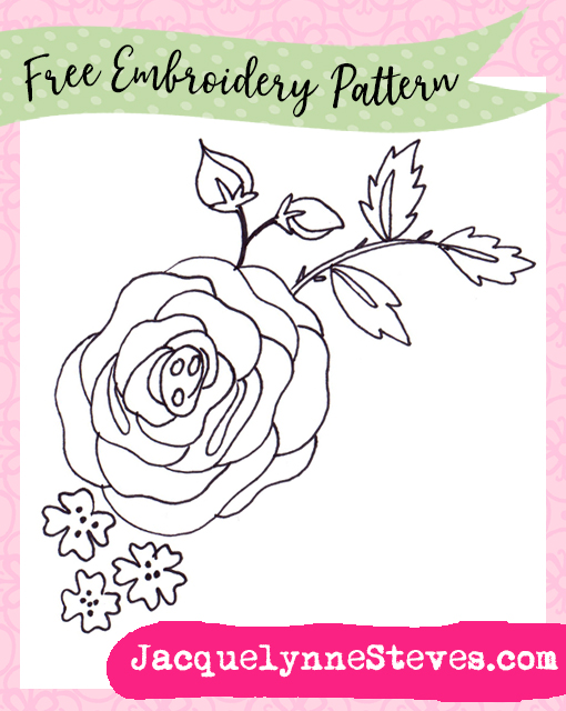 Free Summer Rose Embroidery Pattern - Jacquelynne Steves