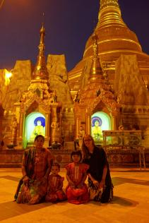 Caroline and a family at Shwedagon Paya