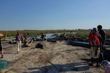 Loading the mokoro to reach our camping site near the Delta