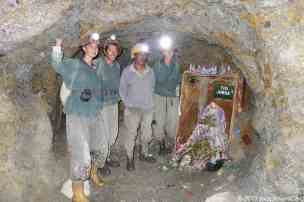 "Us and a miner aournd el tio ""Jorge"", which is the name they give him"