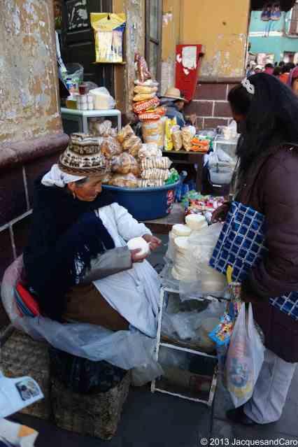 Street vendor of fresh cheese